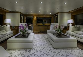Elegant seating and tables on superyacht M3