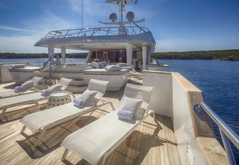 sun loungers line up on the sundeck of motor yacht KATINA