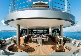 al fresco dining area on the upper deck aft of motor yacht SOLO