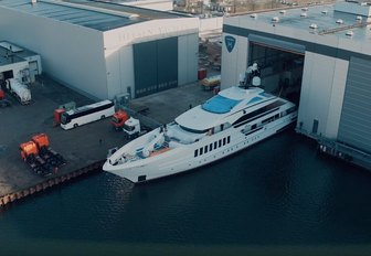 superyacht VIVA moves out of shed at Heesen's shipyard on day of her launch