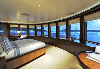 panoramic views available in slick master suite of motor yacht TV