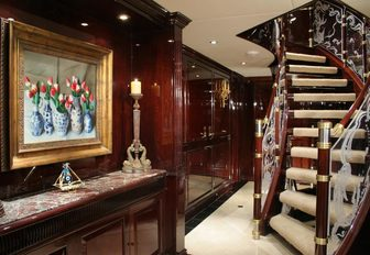 One of the elegant staircases on motor yacht Ionian Princess