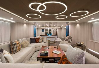 superyacht broadwater main salon with light fixtures in ceiling