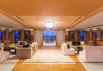 warm and welcoming main salon on board charter yacht ANASTASIA