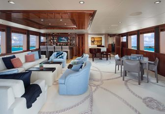 the main salon also boasts a panoramic view of vistas surrounding superyacht time for us as she cruises the bahamas