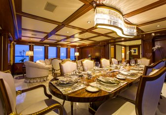 formal dining area in the main salon of charter yacht My Seanna