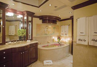 en-suite master bathroom on motor yacht 'Lady Joy'