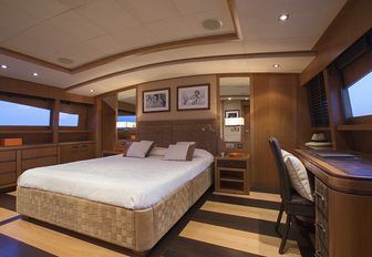 owners cabin on luxury yacht cappucino
