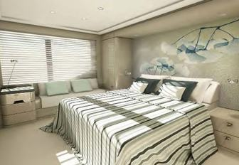 the master suite in charter yacht SOARING