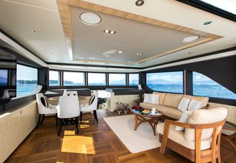 seating areas in the skylounge aboard superyacht ONEWORLD