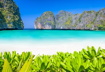 Lagoon with white sand beach in Phi Phi islands