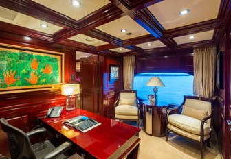 master suite study with amazing views on board charter yacht Lady Joy