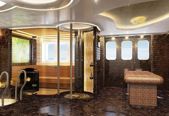 The shower, sauna and plunge pool featured on board superyacht KISMET