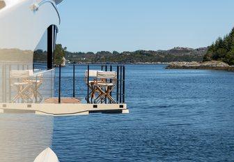 close up of drop-down balcony on board luxury yacht LILI