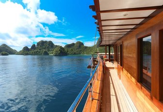 beautiful sea views of Indonesia from the side deck of superyacht LAMIMA