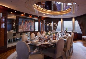 The formal dining space featured on board Lady Lola
