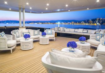 luxe main deck aft with alfresco lounge aboard charter yacht MISCHIEF