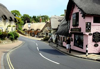 pink houses in the streets of cowes, on the isle of wight