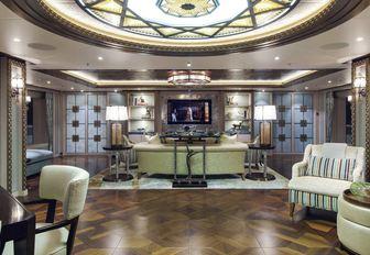 The interior of superyacht SOLANDGE