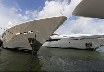 superyachts line up for the Palm Beach Boat Show 2017