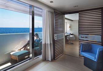 Master stateroom balcony on luxury yacht ILLUSION