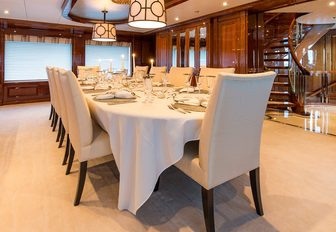 formal dining area in the main salon of luxury yacht Remember When