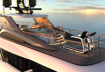 the sundeck of charter yacht geco with swimming pool and gym equipment.