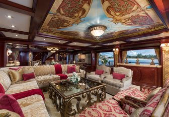 the regal and luxurious salon inside charter yacht Amarula Sun that is fit for royalty and privide her guests with a wonderful space to uwind during these stressful times