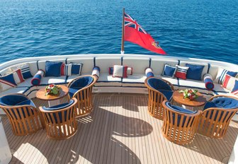 Aft deck seating area on luxury yacht ELEMENT