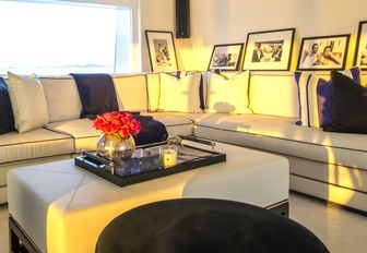 corner sofa in chic skylounge aboard motor yacht MISCHIEF