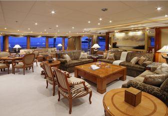 spacious main salon aboard luxury yacht 'Capri I'