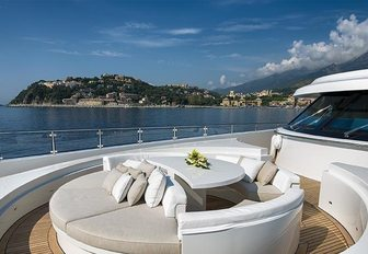 secluded seating area on the foredeck of luxury yacht RESILIENCE