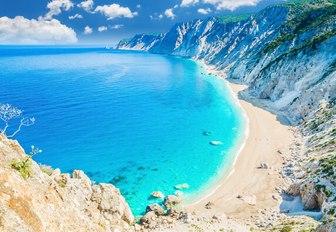 Platia Ammos beach in Kefalonia island, Greece