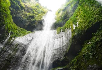 A cascading waterfall in Flores, Indonesia