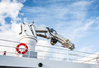 large deck crane on board luxury yacht Game Changer