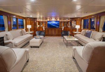 The main salon of luxury yacht One Last Toy