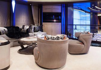 intimate seating area in monochrome Art Deco styling on board luxury yacht KISMET