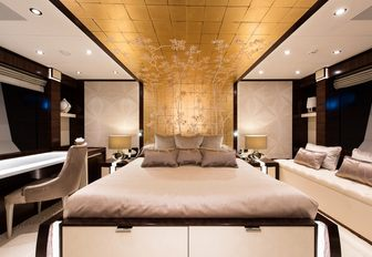 One of the guest cabins featured on board superyacht 'Silver Wind'