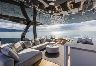sumptuous seating on the sundeck of motor yacht December Six