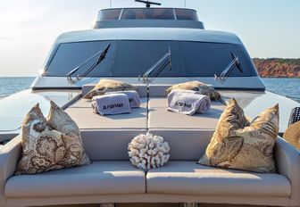private seating at the bow of luxury charter yacht ANAMEL