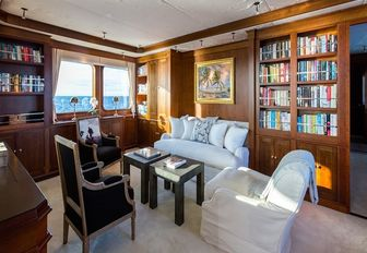 private library forms part of the master suite aboard superyacht PIONEER