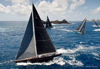 sailing yachts compete at the St Barths Bucket 2017