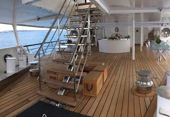 Stairs leading up from deck on Superyacht CHAKRA