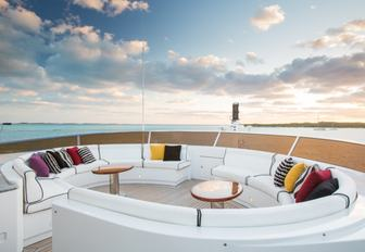 custom seating on the sundeck of charter yacht CHECKMATE