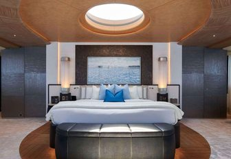 master suite with skylight overlooking bed on board luxury yacht BARBARA