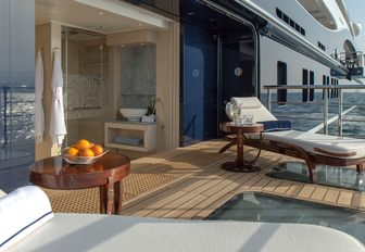 Superyacht TIS side balcony and deck chairs