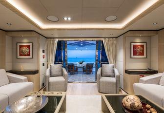 The interior of superyacht ONEWORLD