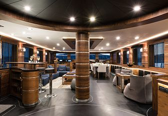 The main salon and interior styling of luxury yacht ROXSTAR
