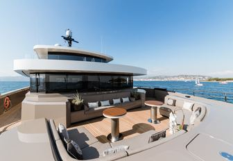 intimate seating area on the owner's deck forward terrace on board superyacht SOLO