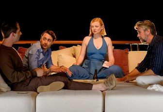 Roy siblings, from HBO show succession, sit on the aft deck of superyacht SOLANDGE discussing future plans